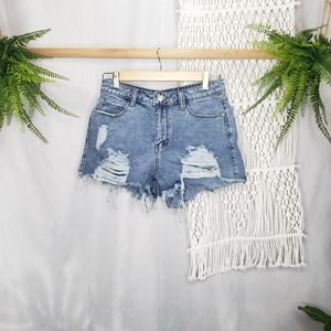Shein Distressed Cut Out High Waisted Raw Frayed